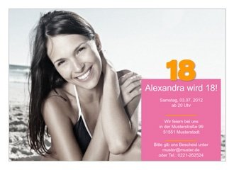 Einladungskarte 18. Geburtstag Alexa, Einladungs