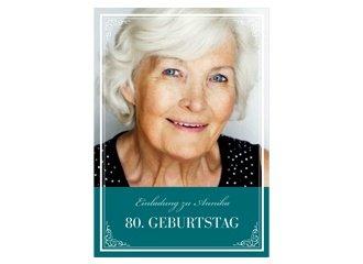 Einladungskarte 80. Geburtstag Leonore