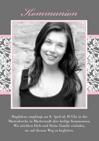 Einladungskarte Kommunion Pink Greyling