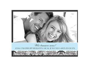 Einladungskarte Hochzeit Black Bluish 1