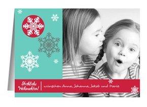 Weihnachtskarte Bunte Schneeflocken 2