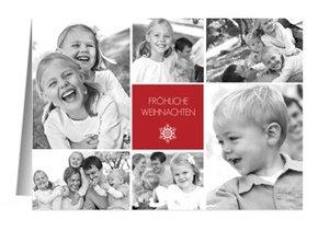 Weihnachtskarte Classic Red Snowflake