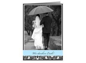 Danksagungskarte Hochzeit Black Bluish 1