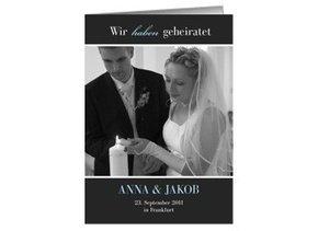 Danksagungskarte Hochzeit Black Bluish 2