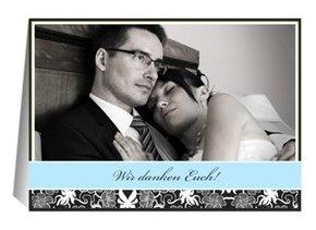 Danksagungskarte Hochzeit Black Bluish 3