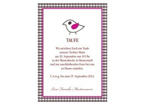 Einladungskarte Taufe Birdy
