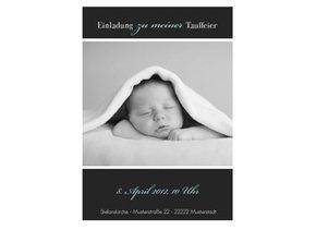 Einladungskarte Taufe Black Bluish