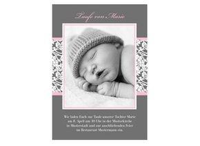 Einladungskarte Taufe Pink Greyling