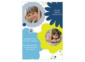 Einladung Kindergeburtstag Karen Blau