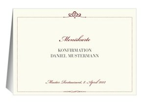 Menükarte Konfirmation Royal