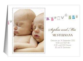 Geburtsanzeige Wäscheleine Zwillinge