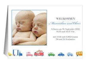 Geburtsanzeige Autos Zwillinge