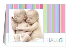 Geburtsanzeige Hello Stripes Zwillinge