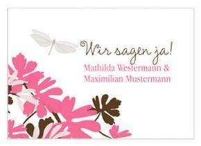 Einladungskarte Hochzeit Libelle Pink