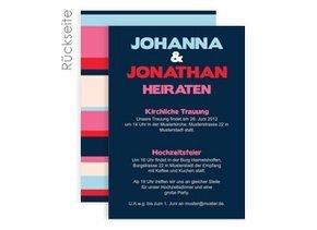 Einladungskarte Hochzeit Stripes Blue