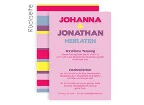 Einladungskarte Hochzeit Stripes Pink