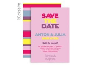 Save the Date Stripes Pink