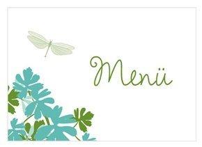 Menükarte Hochzeit Libelle Türkis