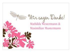 Danksagung Hochzeit Libelle Pink