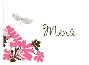 Menükarte Hochzeit Libelle Pink