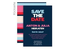 Save the Date Stripes Blue