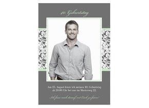 Einladungskarte 40. Geburtstag Green Greyling