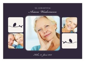 Einladungskarte 50. Geburtstag Violett