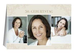 Einladung 50. Geburtstag Creme