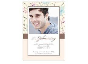 Einladungskarte 30. Geburtstag Pink Blossom