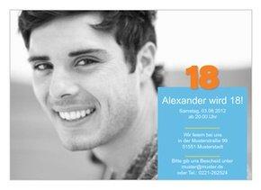 Einladungskarte 18. Geburtstag Alex