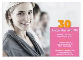 Einladungskarte 30. Geburtstag Alexa