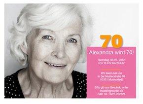 Einladungskarte 70. Geburtstag Alexa