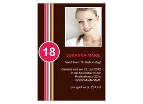 Einladungskarte 18. Geburtstag Streifen Pink