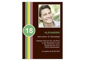 Einladungskarte 18. Geburtstag Streifen Grün