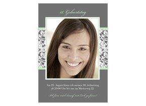 Einladungskarte 18. Geburtstag Green Greyling