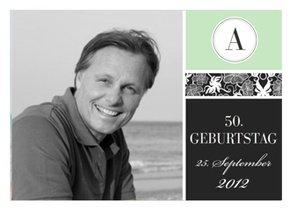Einladungskarte 50. Geburtstag Green Blush