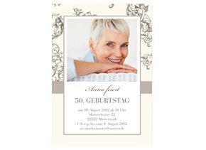Einladungskarte 50. Geburtstag Jugendstil