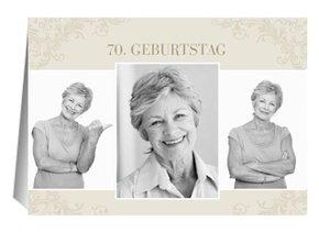 Einladung 70. Geburtstag Creme