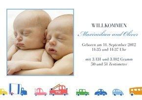 Dankeskarte Geburt Autos Zwillinge
