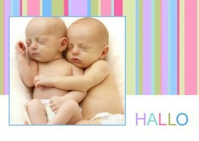 Dankeskarte Hello Stripes Zwillinge