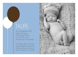 Einladungskarte Taufe Balloon Blue