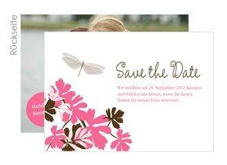 save the date libelle pink. Black Bedroom Furniture Sets. Home Design Ideas